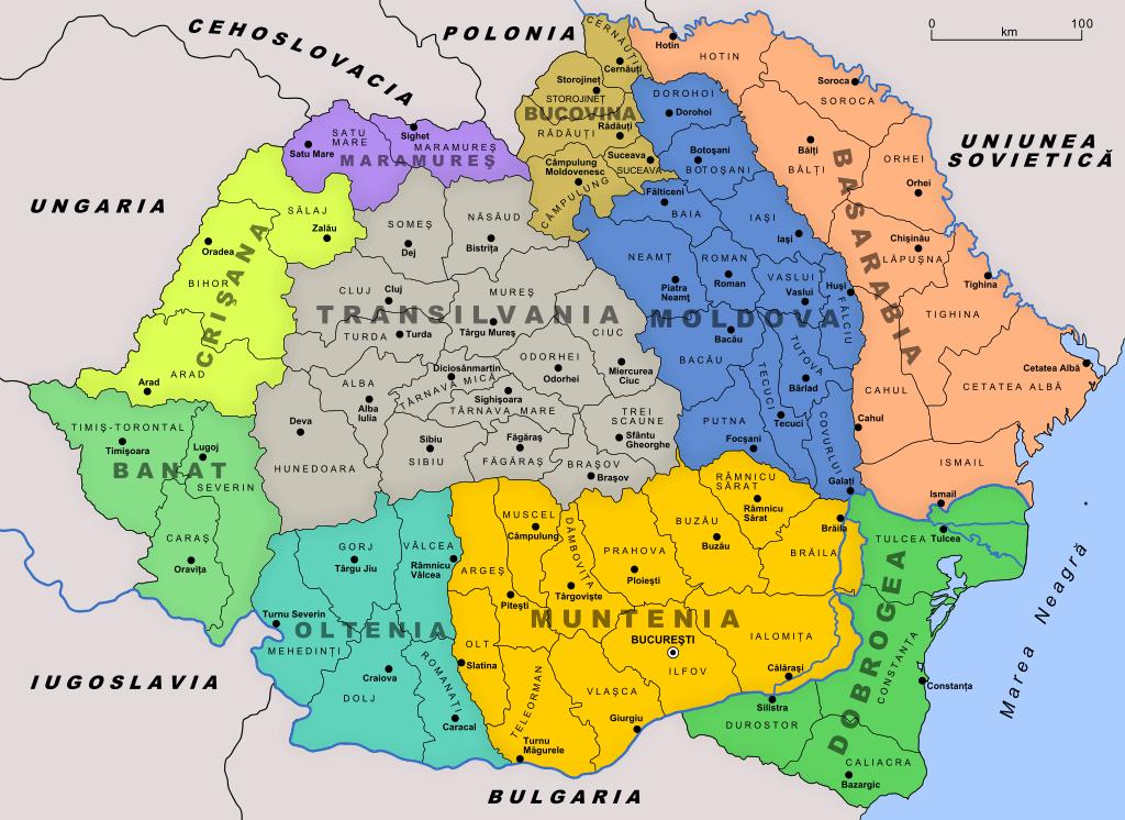 מפת איזורים ברומניה הגדולה 1926
